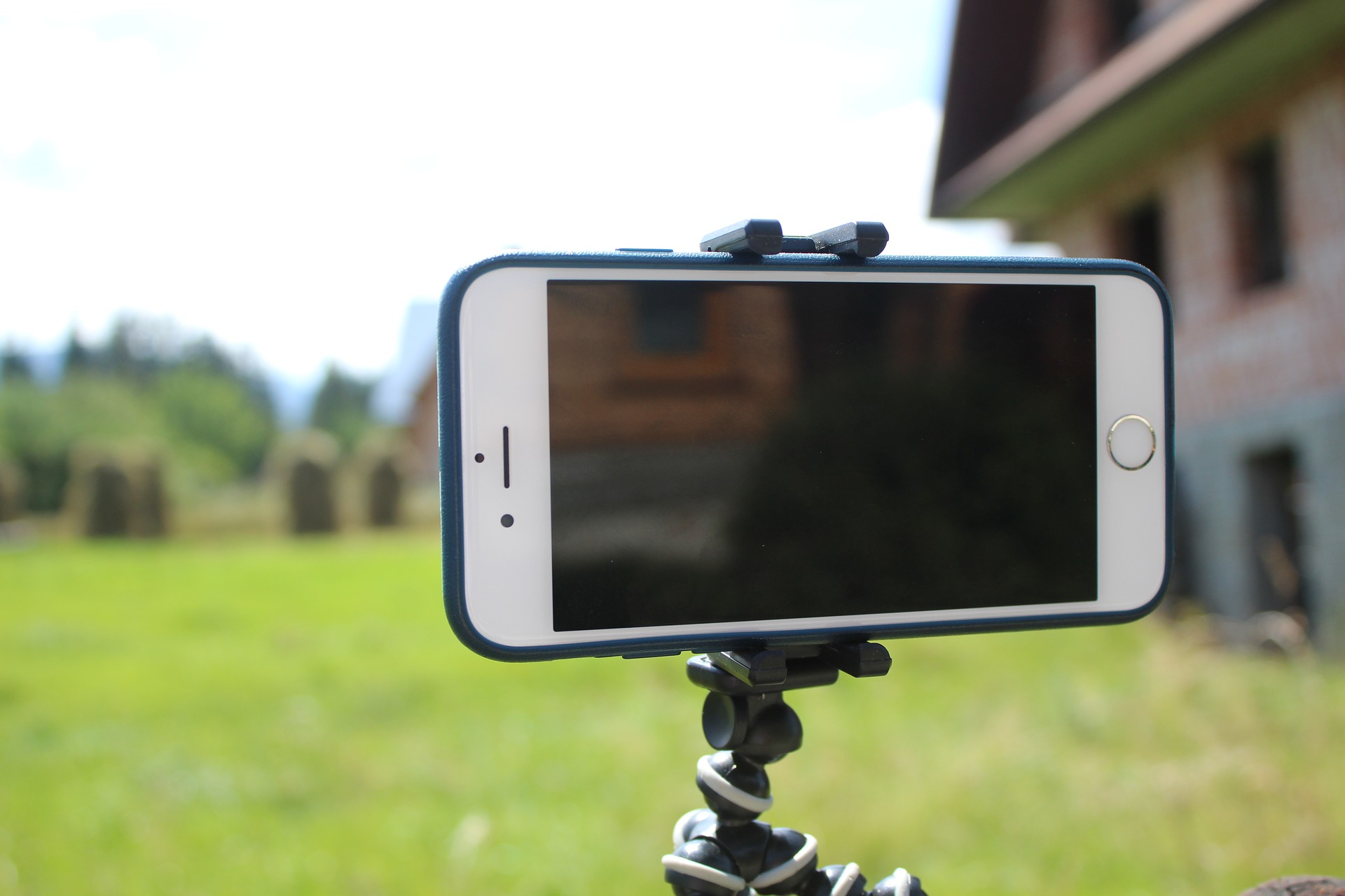 smartphone on a small tripod
