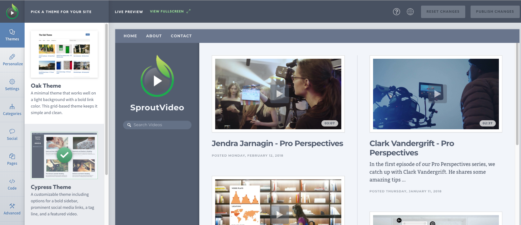Video Website Theme Editor Hosted by SproutVideo