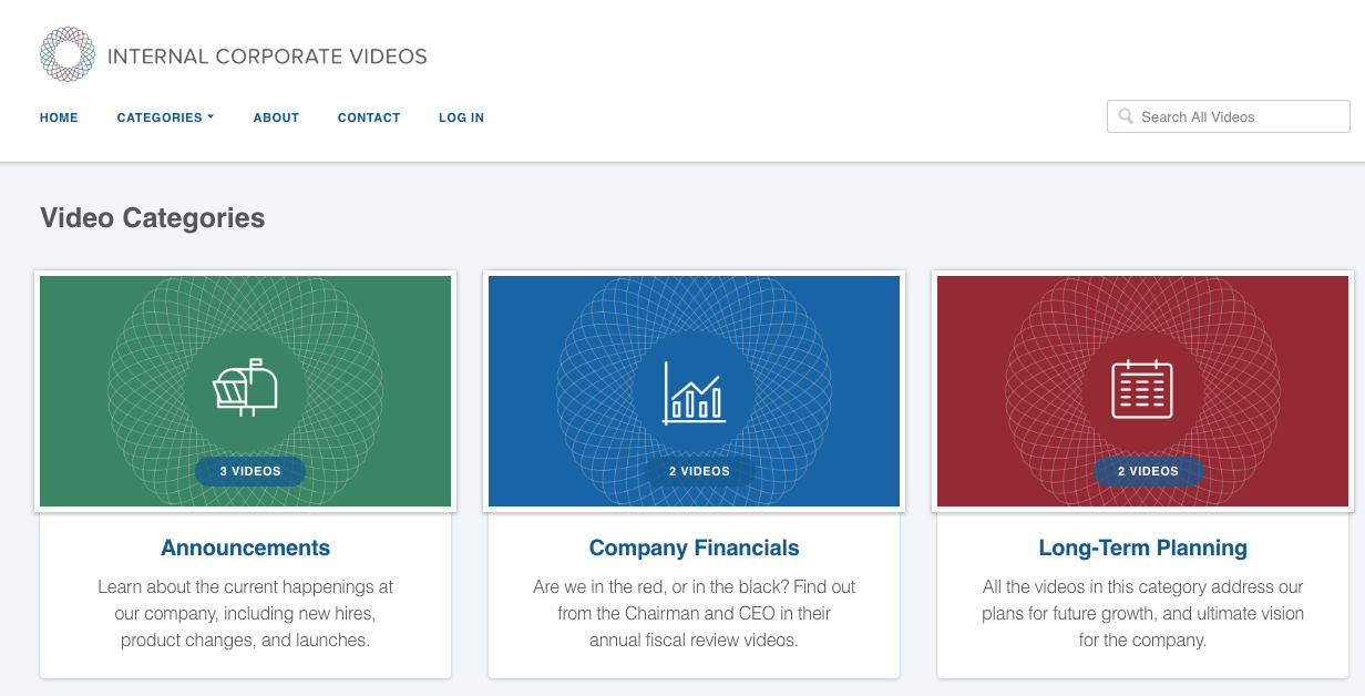 video website example of maple theme