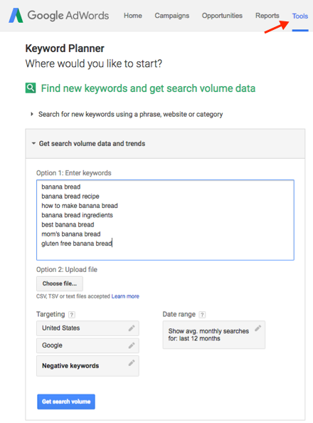 How to use Adwords keyword planner for video SEO