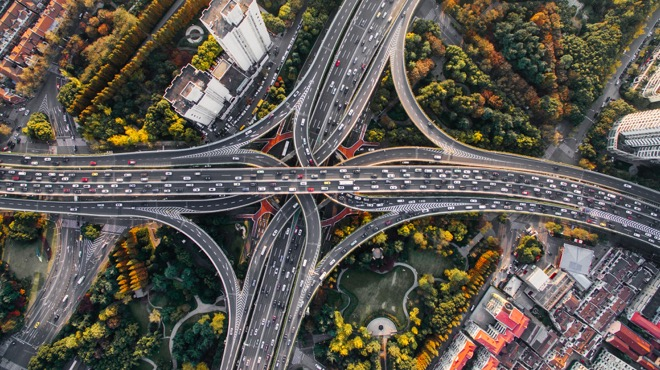 drone shot of a roadway