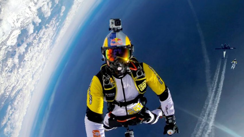 Person skydiving