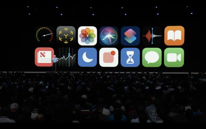 Apple WWDC conference with video screens on stage