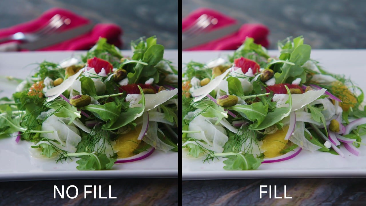 Fill vs no Fill When Filming Food