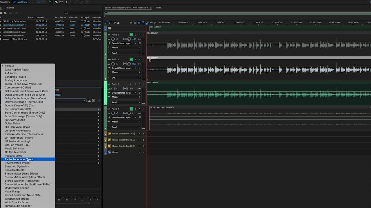 Using a Preset to edit audio in Adobe Audition