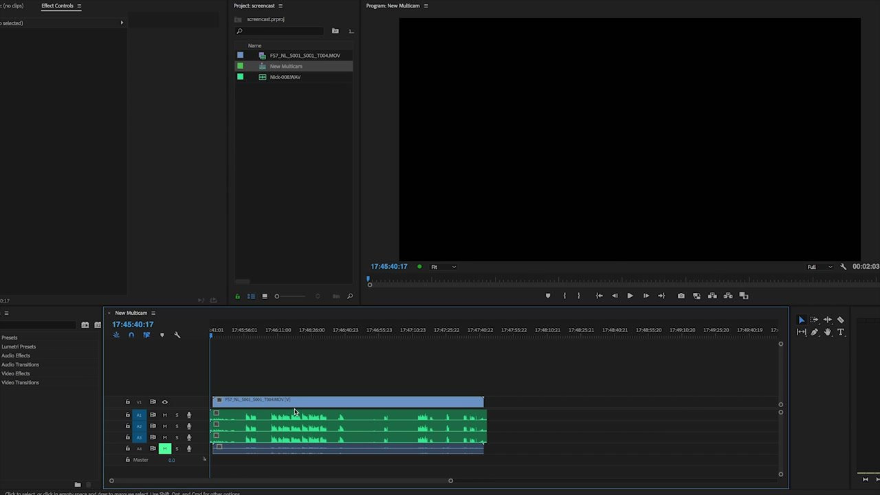 Example of Video and Audio in Timeline Adobe Premiere