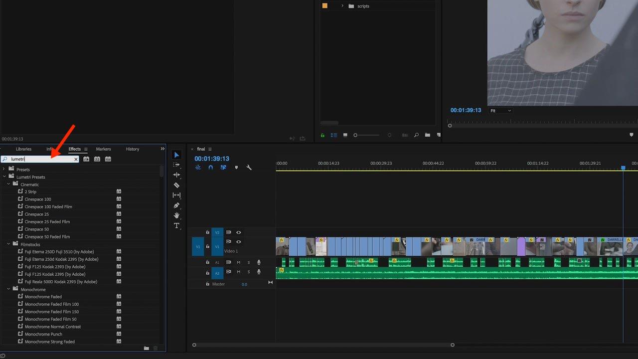 Lumetri Effects Menu Adobe Premiere