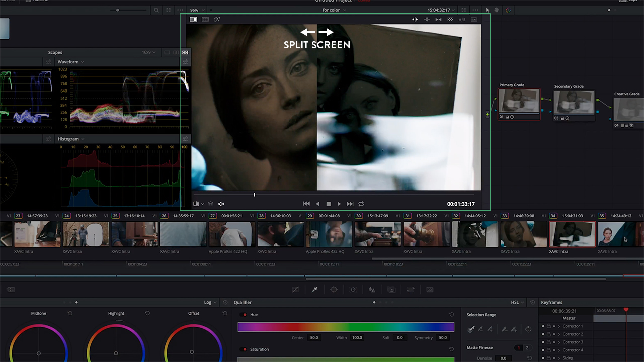 Split Screen for Color Grading DaVinci