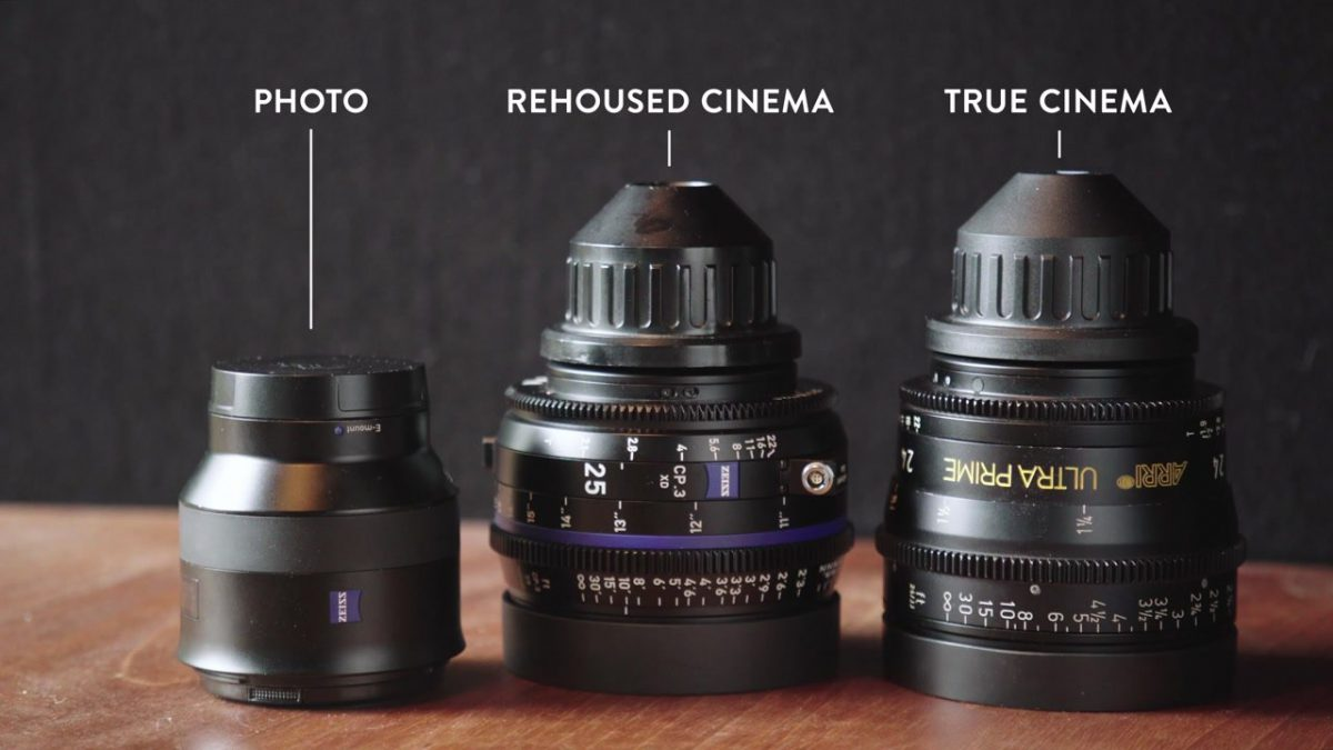 Photo, rehoused cinema, and true cinema lenses