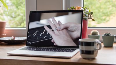 MacBook with diamond ring image