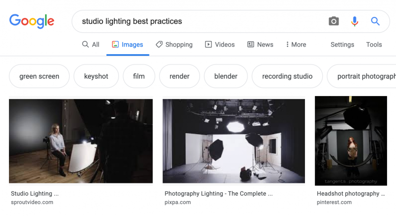 Image search results example