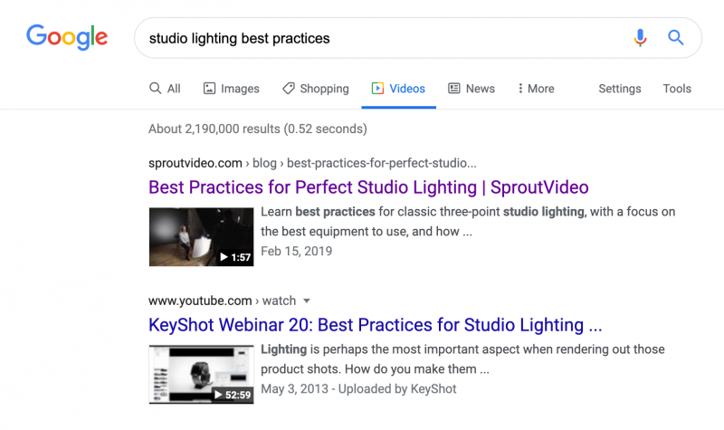 Example of Video Search Results